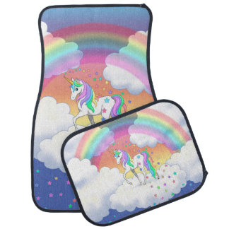 Colorful Rainbow Unicorn and Stars Car Mat
