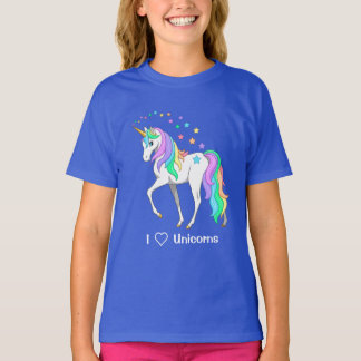 Colorful Rainbow Unicorn and Stars T-Shirt