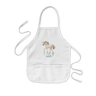 Colorful Rainbow Unicorn Polygon Name - Apron
