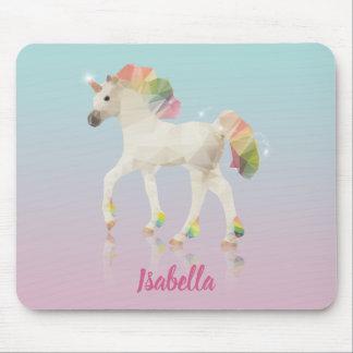 Colorful Rainbow Unicorn Polygon Name - Mousepad