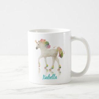 Colorful Rainbow Unicorn Polygon Name - Mug