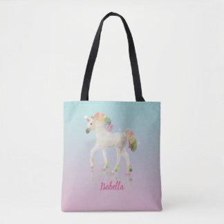 Colorful Rainbow Unicorn Polygon Name - Tote Bag
