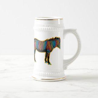 Colorful Rainbow Zebra Beer Stein