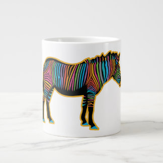 Colorful Rainbow Zebra Large Coffee Mug