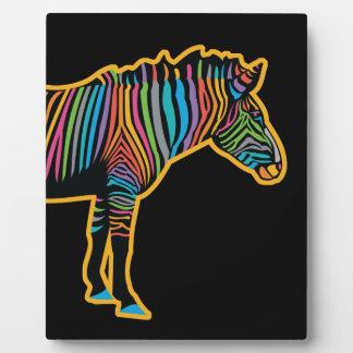Colorful Rainbow Zebra Plaque