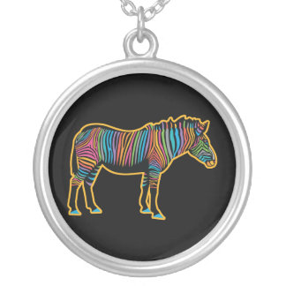 Colorful Rainbow Zebra Silver Plated Necklace