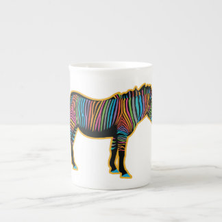 Colorful Rainbow Zebra Tea Cup