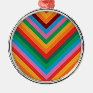 Colorful Rainbow Zig Zag Chevron Silver-Colored Round Decoration