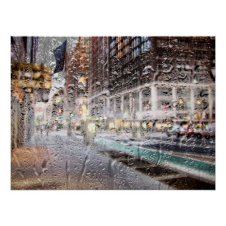 Colorful Rainy Day NYC Abstract Poster
