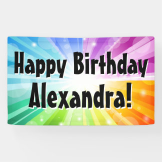 Colorful Rays Custom Birthday Party Banner