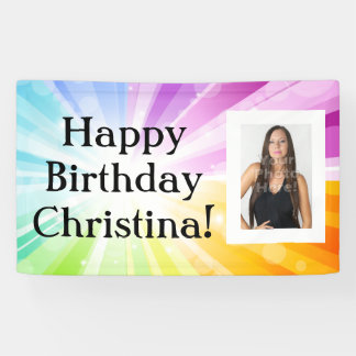 Colorful Rays Custom Photo Birthday Party Banner