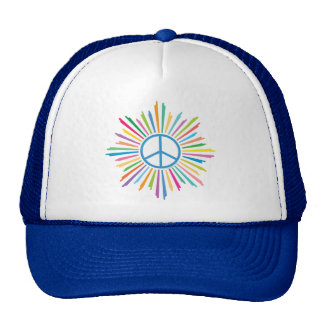 Colorful Rays Surround Peace Sign Cap