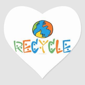Colorful Recycling Heart Sticker
