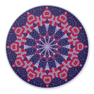 Colorful Red and Blue Patriotic Mandala Ceramic Knob