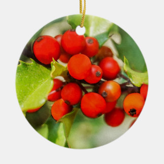Colorful Red and Green Christmas Holly Watercolor Ceramic Ornament