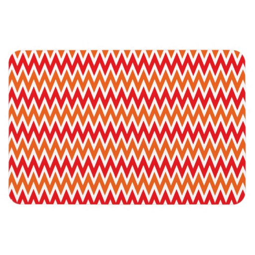 Colorful Red and Orange Chevron Zigzag Pattern Flexible Magnets