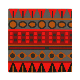 Colorful red aztec pattern wood coaster