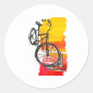 Colorful Red Bike Round Sticker