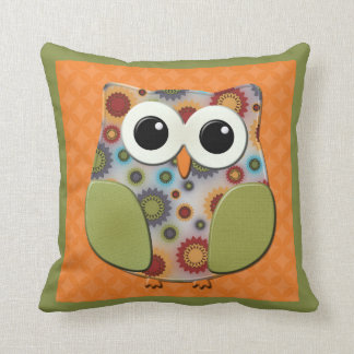 Colorful Red Blue Purple Owl Orange Green Pillow