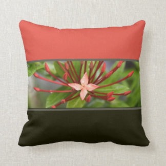 """Colorful Red Flower Panama Throw Pillow 16"""" x 16"""""""