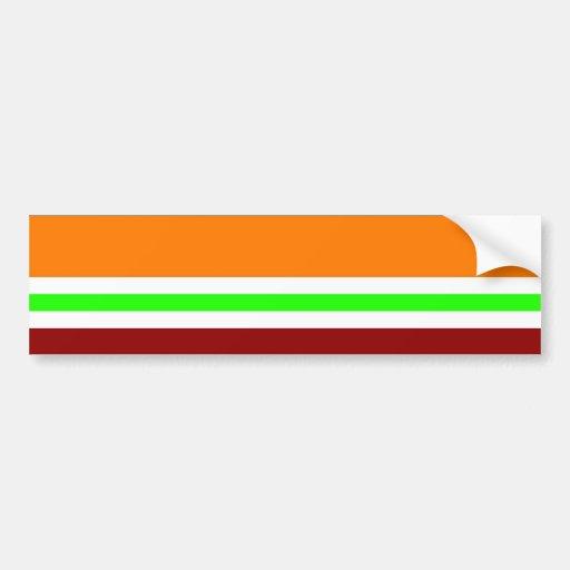 Colorful Red Orange Green Black Striped Pattern Bumper Stickers