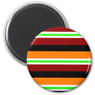 Colorful Red Orange Green Black Striped Pattern Magnets