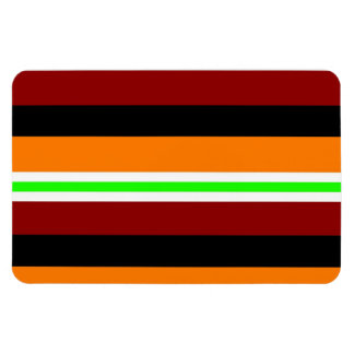 Colorful Red Orange Green Black Striped Pattern Magnets
