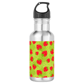 Colorful red strawberry pattern on green 532 ml water bottle