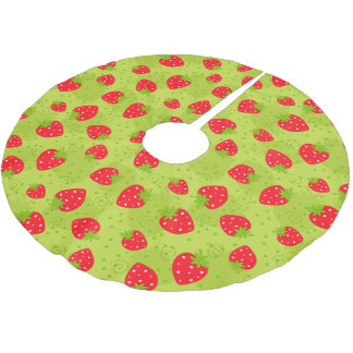 Colorful red strawberry pattern on green brushed polyester tree skirt