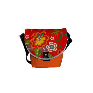 Colorful Red Vintage Floral Vector Messenger Bag