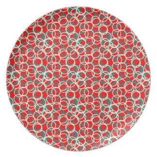 Colorful Red White and Blue Circle Pattern Plate