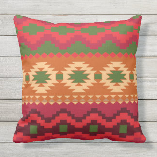COLORFUL REDS & GREEN CLASSIC AZTEC throw cushion