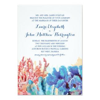 Colorful Reefs Watercolor | Wedding 13 Cm X 18 Cm Invitation Card