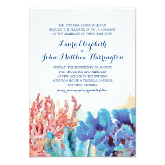 Colorful Reefs Watercolor   Wedding Card