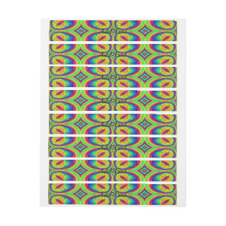 Colorful repeating stylish pattern wraparound address label