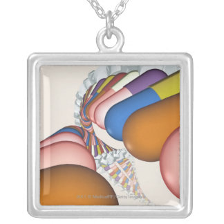 Colorful representation of a DNA strand Silver Plated Necklace