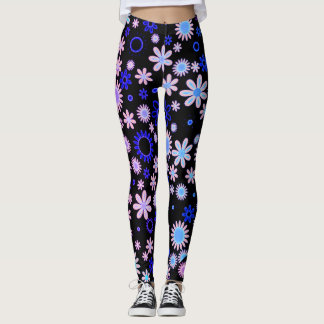 Colorful Retro 70s' Style Flower Pattern Leggings