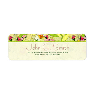 Colorful Retro Abstract Floral Collage Return Address Label