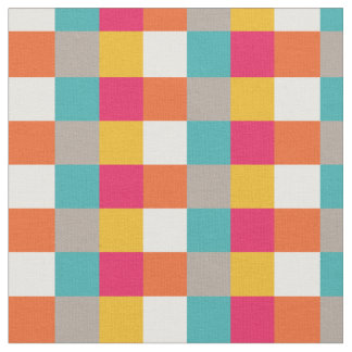 Colorful Retro Aztec Pixel Squares Pattern Fabric