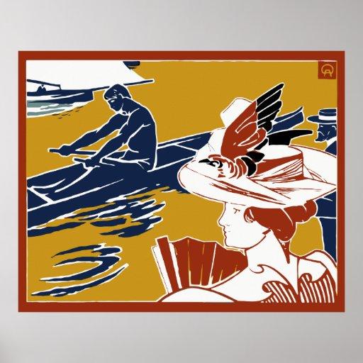 Colorful retro belle époque regatta advertising poster