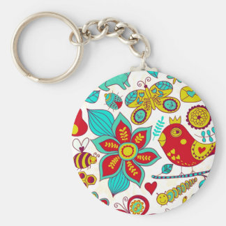 Colorful Retro Birds Flowers Pattern Key Ring