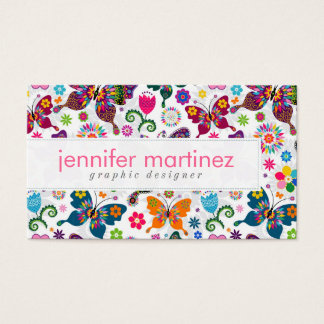 Colorful Retro Butterflies And Flowers Pattern