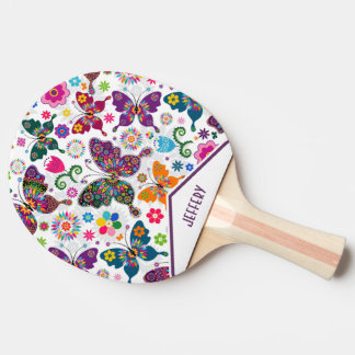 Colorful Retro Butterflies And Flowers Pattern Ping Pong Paddle