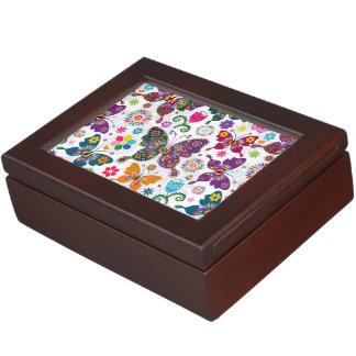 Colorful Retro Butterflies And Flowers Pattern Keepsake Box