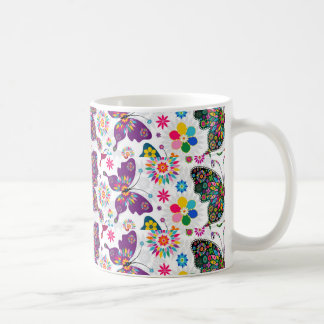 Colorful Retro Butterfly's And Flowers Pattern Mugs
