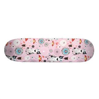 Colorful Retro Cat Feline Pattern Skate Deck