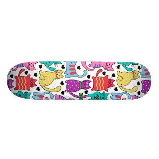 Colorful Retro Cat Feline Pattern Skate Board Decks
