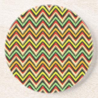 Colorful Retro Chevron Pattern Warm Tones Beverage Coasters
