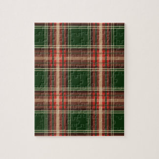 Colorful Retro Christmas Holiday Tartan Plaid Jigsaw Puzzle