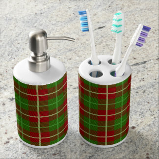 Colorful Retro Christmas Holiday Tartan Plaid Soap Dispenser And Toothbrush Holder